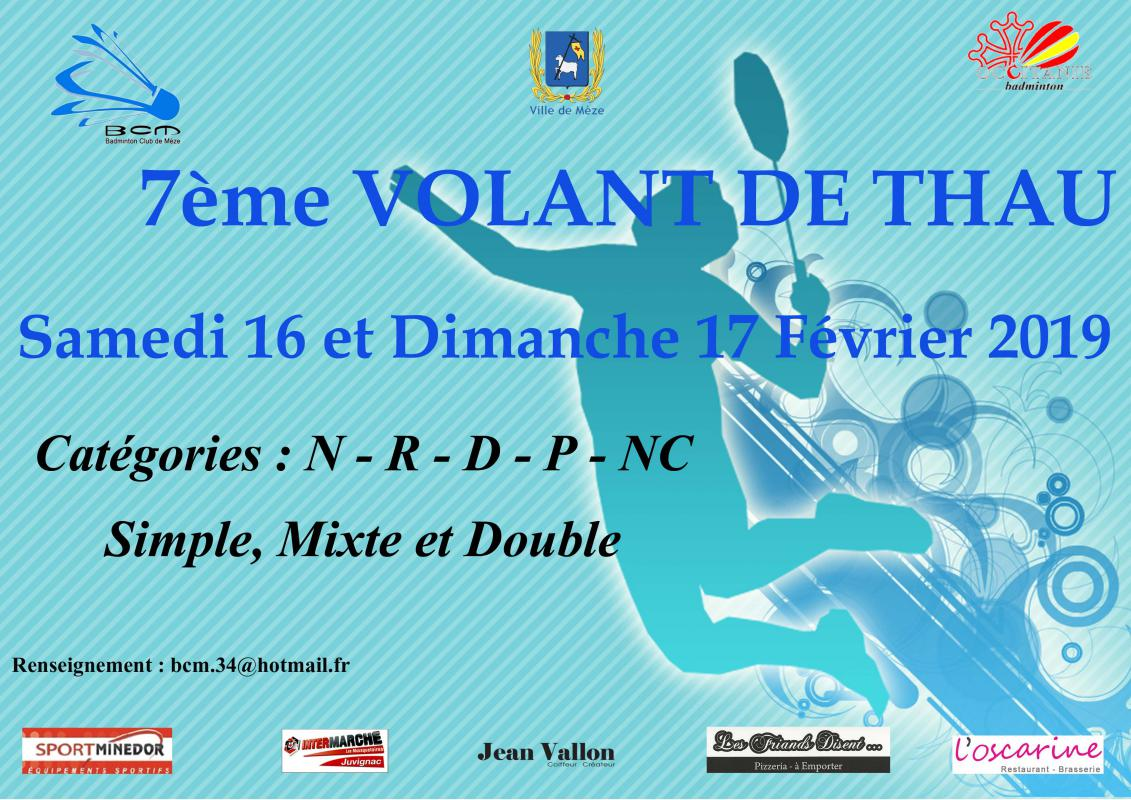 7è Tournoi International des Volants de Thau à Mèze (34) les 16 et 17/02