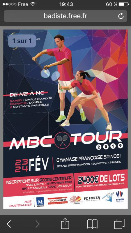 MBC Tour 2019 (Montpellier) les 23 et 24/02/19  inscriptions via score center