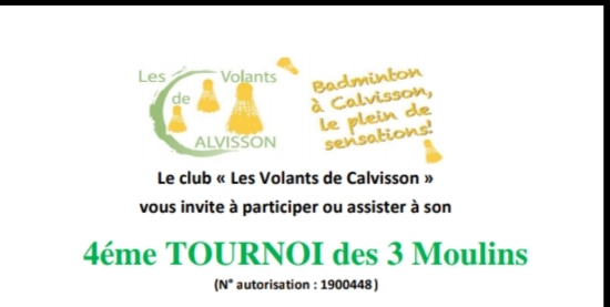 4è Tournoi des 3 moulins ( Calvisson (30) les 19 et 20/10/19     inscriptions via score center