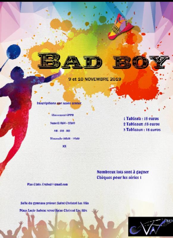 Bad boys 2019 ( Alès (30)) les 9 et 10/11/19               inscriptions via score center!!!