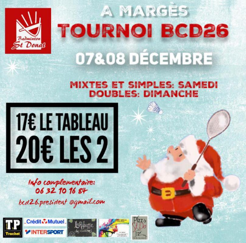 6è Tournoi du BCD 26 (Marges (26)) les 7 et 8/12/19                inscriptions via score center