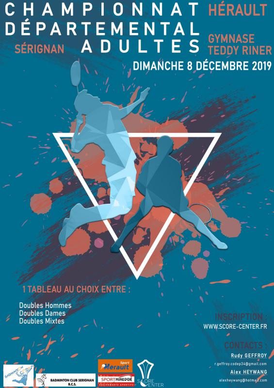 Championnat Départemental Adulte de Sérignan (34) le 8/12/19      inscriptions via score center