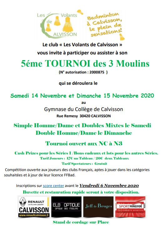 5ème tournoi des 3 moulins de Calvisson les 14 et 15/11 inscription via score center avant le 06/11