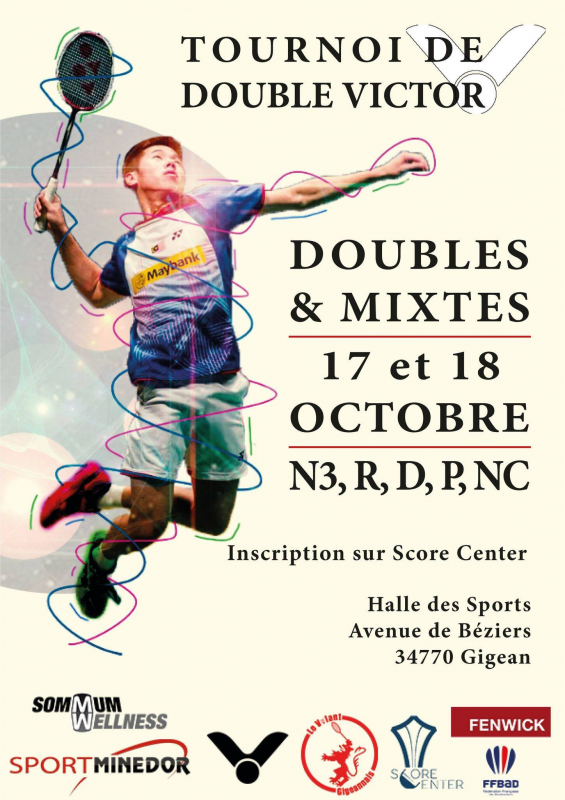 TOURNOI DOUBLES GIGEAN 17-18/10 INSCRIPTIONS VIA SCORE CENTER AVANT LE 12/10
